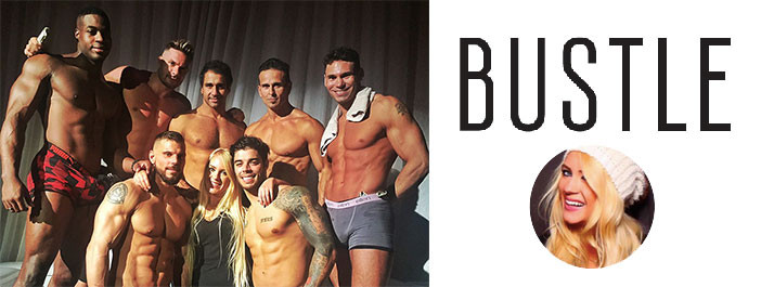 Anna Klassen of Bustle poses with The Hollywood Men